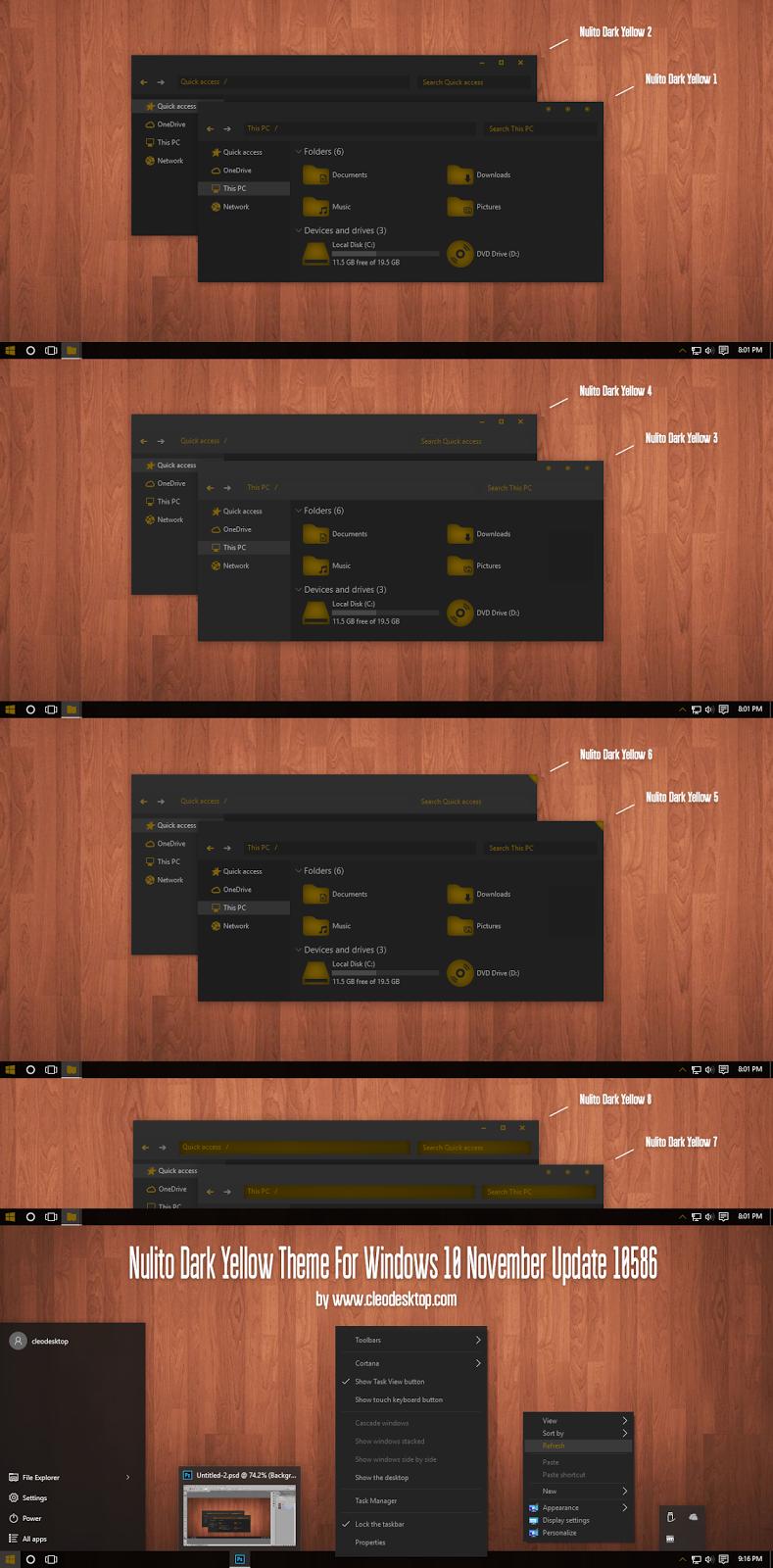 Nulito Dark Yellow Theme For Windows10 November Update (10586)