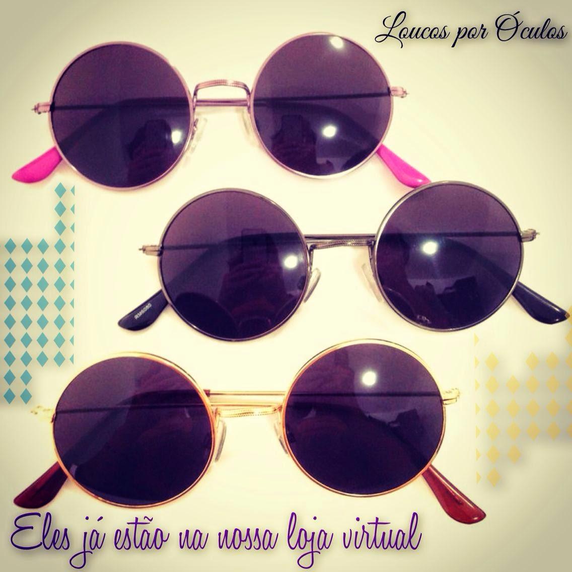 Hoje, você vai adquirir os seus óculos redondinhos por apenas r  90,00  (armação) e r  110,00 (solar). São 3 cores  Metal dourado, metal lilás e  metal chumbo ... 8cd1979736