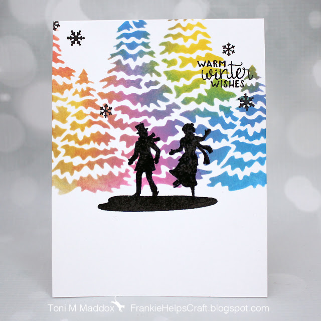 Warm Winter Wishes Card by January Guest Designer Toni Maddox | Winter Memories Stamp Set and Evergreens Stencil by Newton's Nook Designs #newtonsnook #handmade