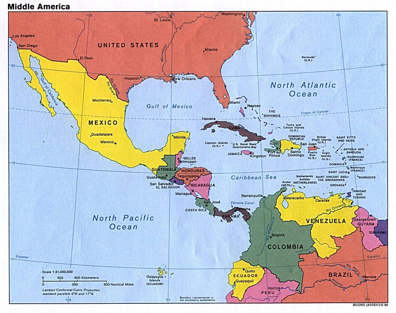 América Central | Mapas Geográficos da América Central