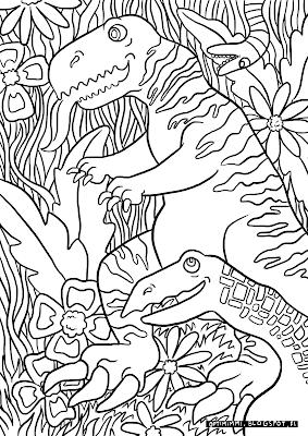 A coloring page of dinosaurs in a jungle / Värityskuva dinoista viidakossa