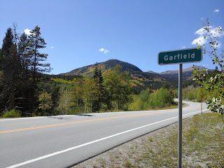 View from the Garfield highway sign with the fall colors along the pass.