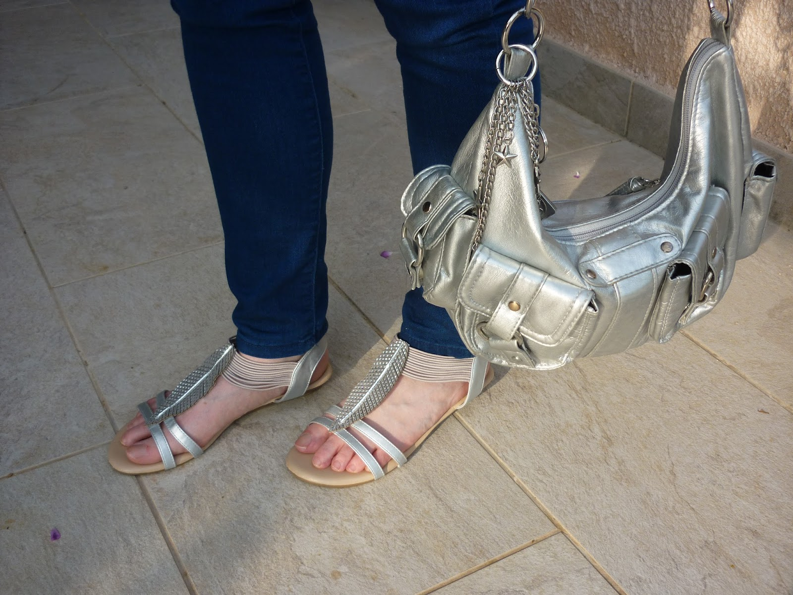 Silver Sandals and silver bag