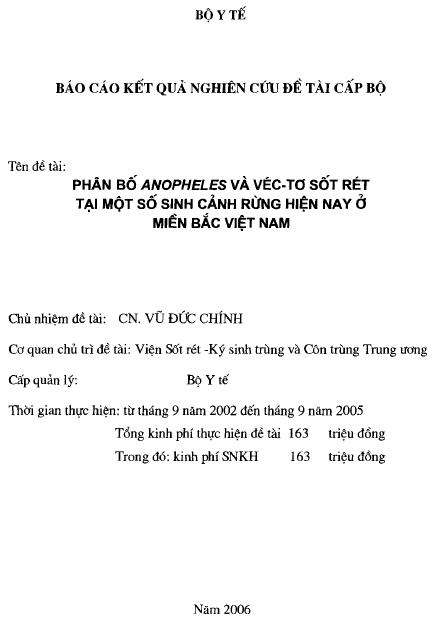 Phân bố Anopheles và vec-tơ sốt rét tại một số sinh cảnh rừng hiện nay ở miền Bắc Việt Nam