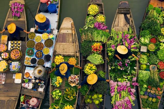 foto pasar apung thailand
