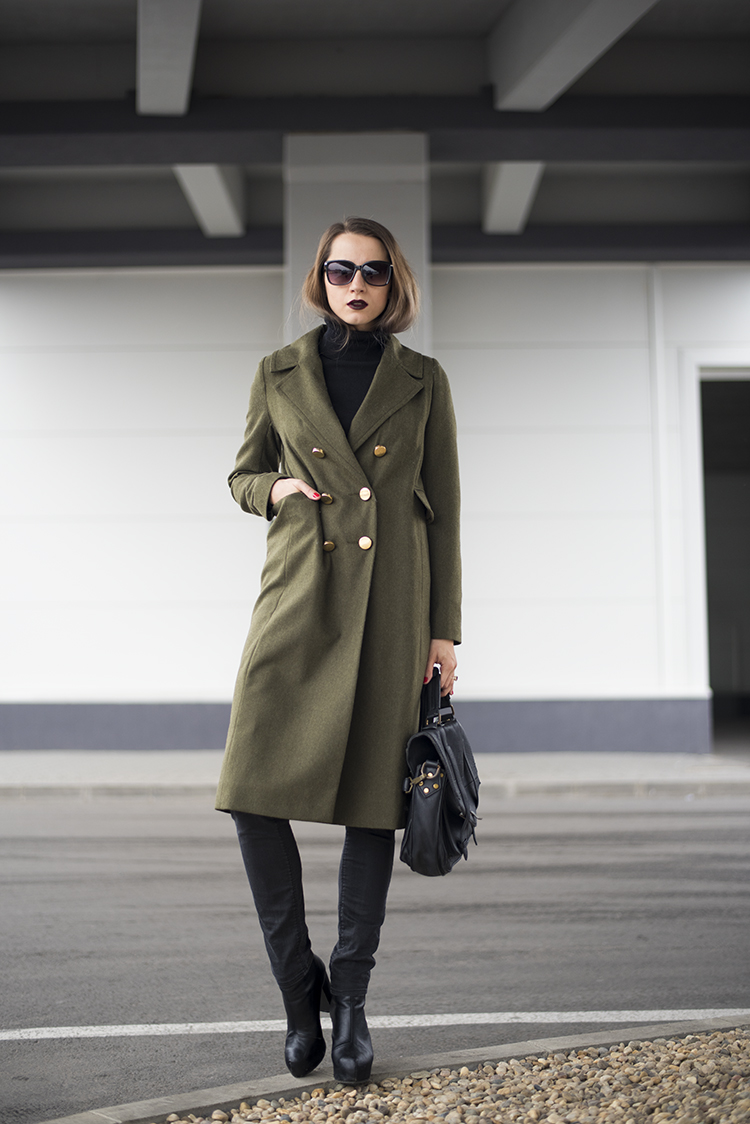 Army green fall coat