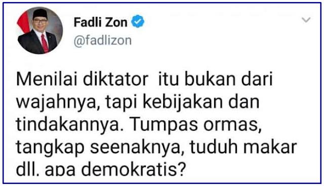 Cuitan Fadli Zon Ini Nusuk Jokowi