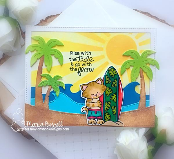 Cat with Surfboard Beach Card by Maria Russell | Newton's Perfect Wave Stamp Set, Sea Borders Die Set and Sunscape Stencil by Newton's Nook Designs #newtonsnook #handmade