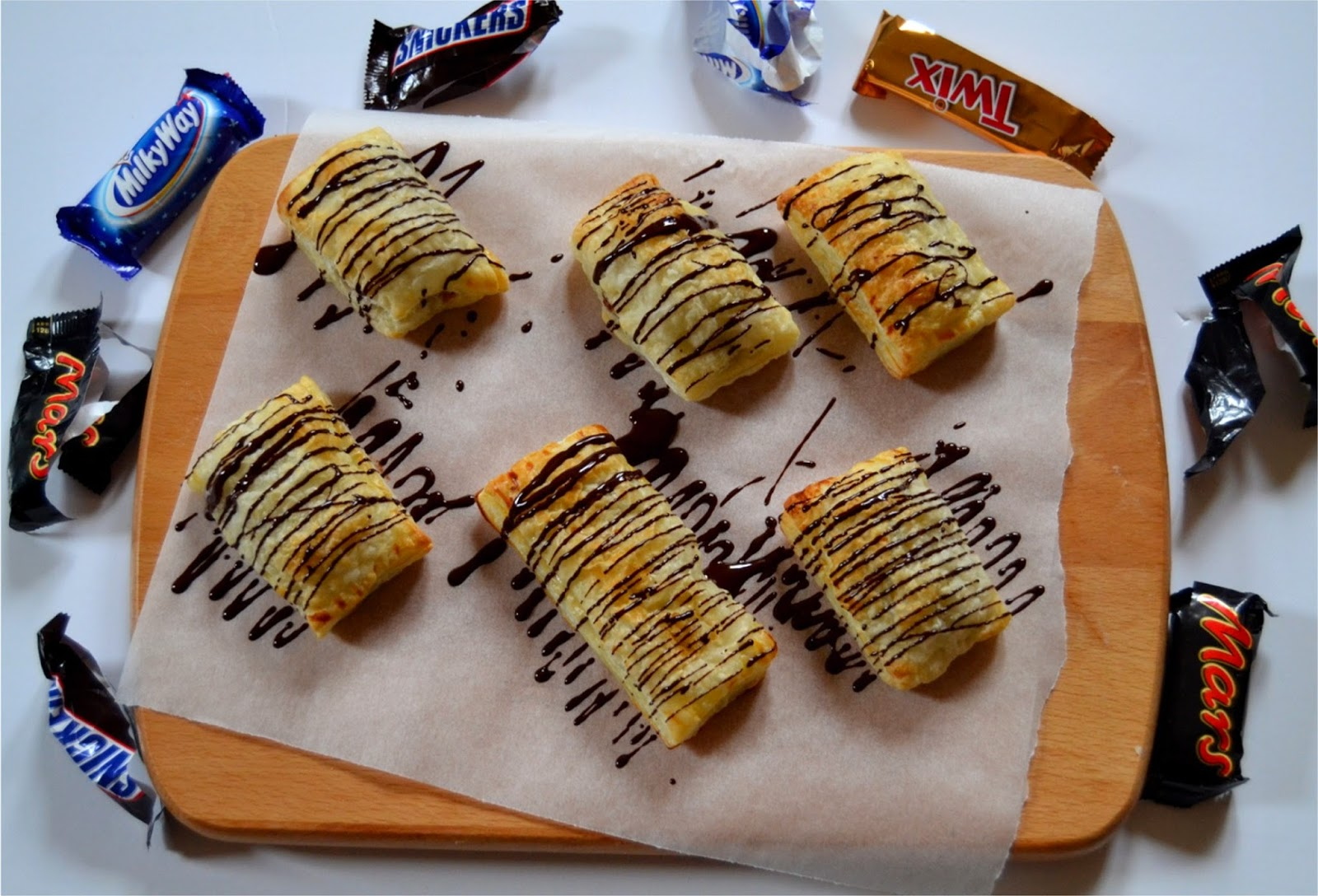 pastry-wrapped chocolate candy bars