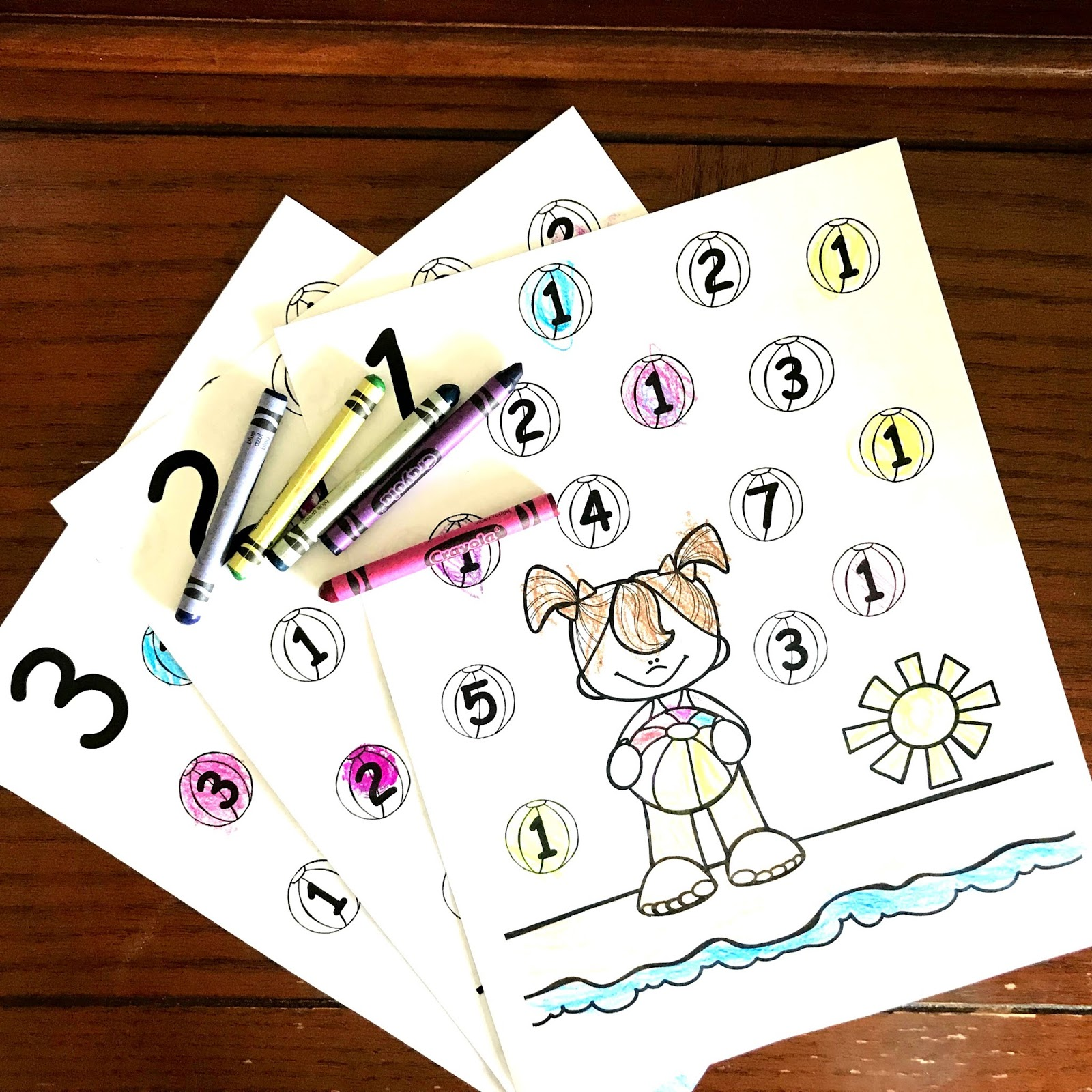 Free Summer Number Recognition Coloring Pages
