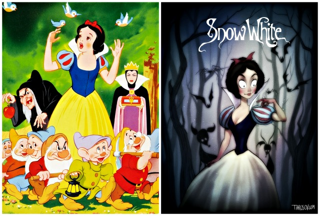 Illustrator Andrew Tarusov redesigns  Disney's classic movie character  Snow White  into Tim Burton's dark gothic style via geniushowto.blogspot.com Illustrations 5