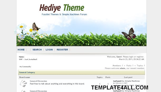 Butterfly Nature SMF Forum Theme Template