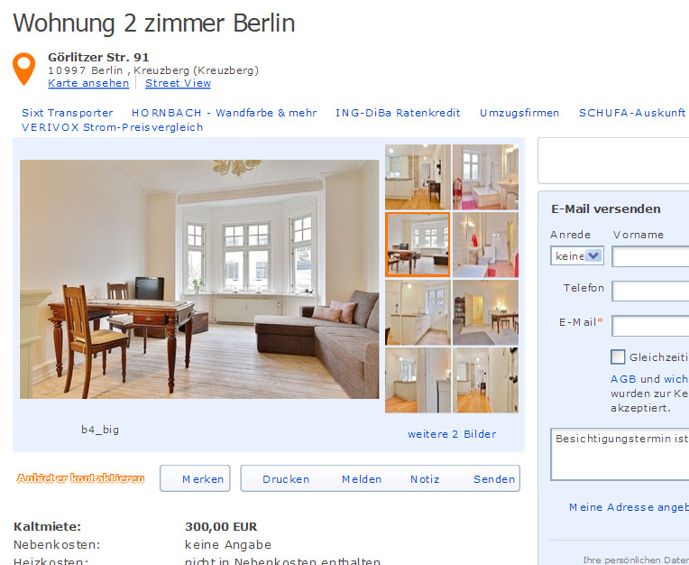 Wohnung 2 zimmer berlin for Zimmer berlin