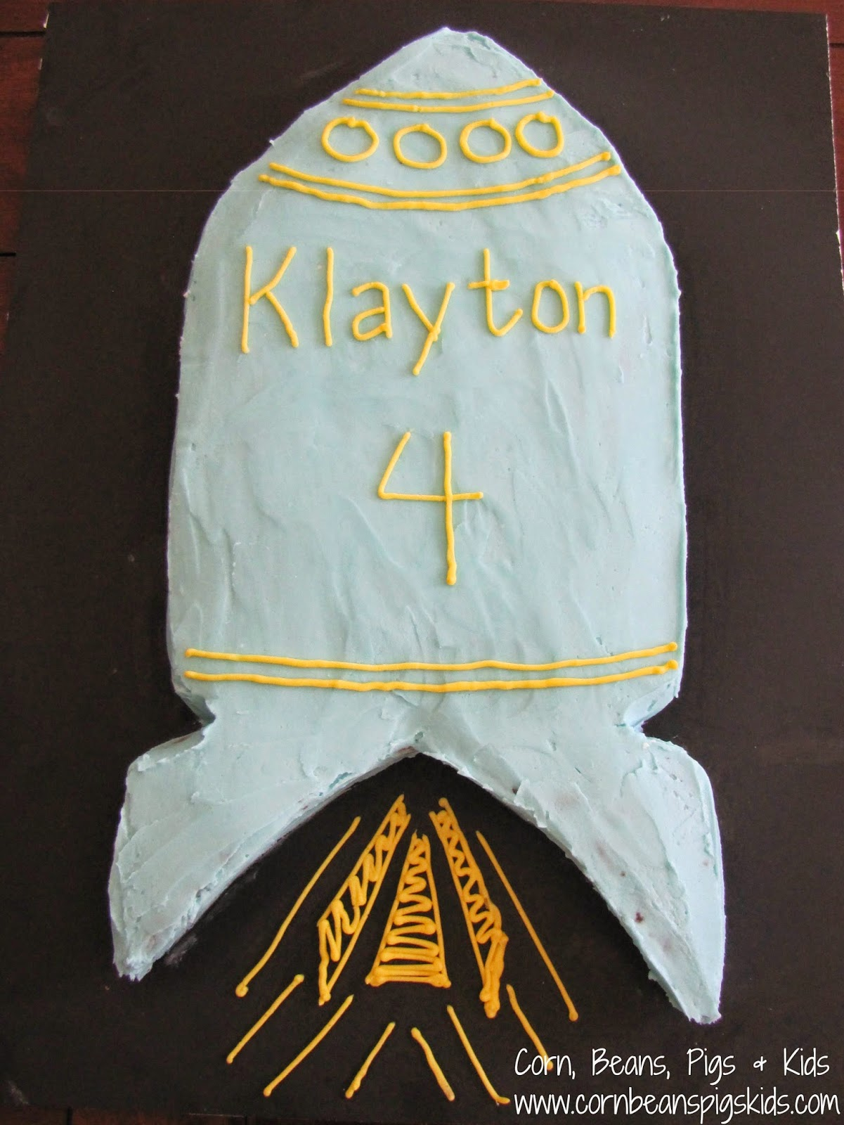 Rocket ship birthday cake