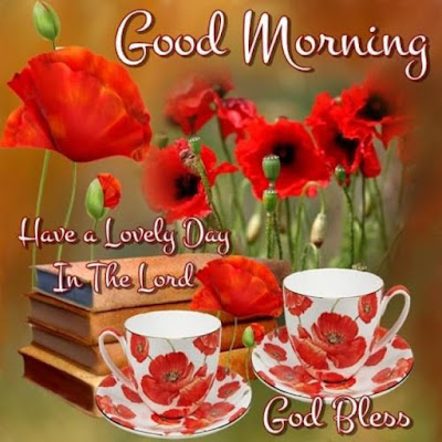Good Morning Whatsapp Images - Red Flowers & Tea Cup Good Morning Image for Whatsapp