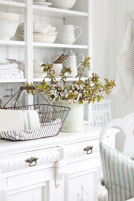 Swedish style vintage dining buffet and hutch - found on Hello Lovely Studio