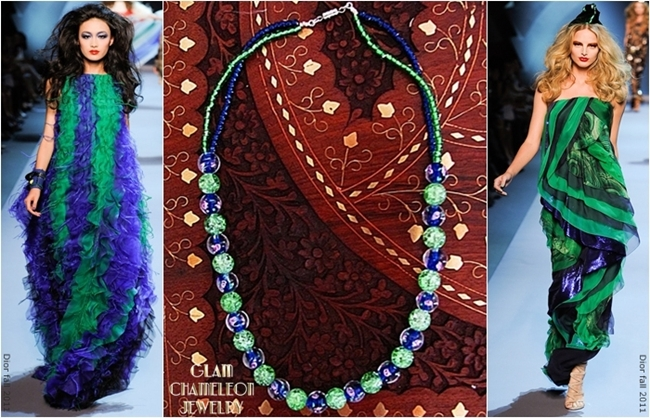 Glam Chameleon Jewelry blue floral glass beads necklace
