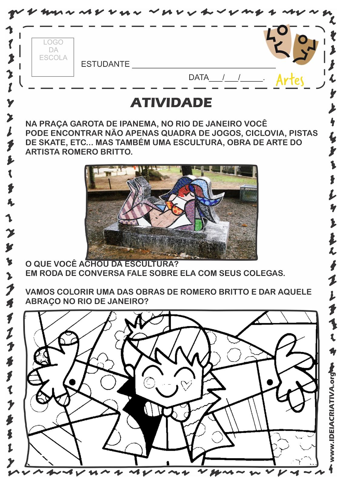 Atividade Rio 450 Anos Apreciação de Escultura de Romero Britto na praça Garota de Ipanema no Rio de Janeiro.
