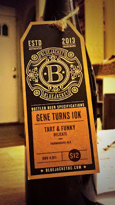 A bottle of Gene Turns 10K from BlueJacket, brewed in commemoration of my friend Gene's 10,000th RateBeer review.
