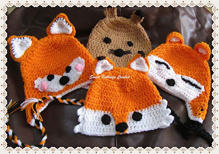 free crochet pattern, cute animal crochet caps