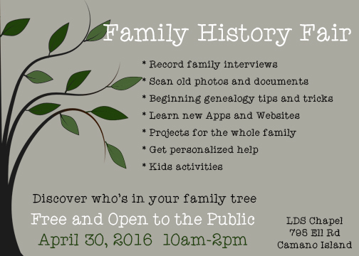 Gathering Branches of My Family Tree: Family History Fair