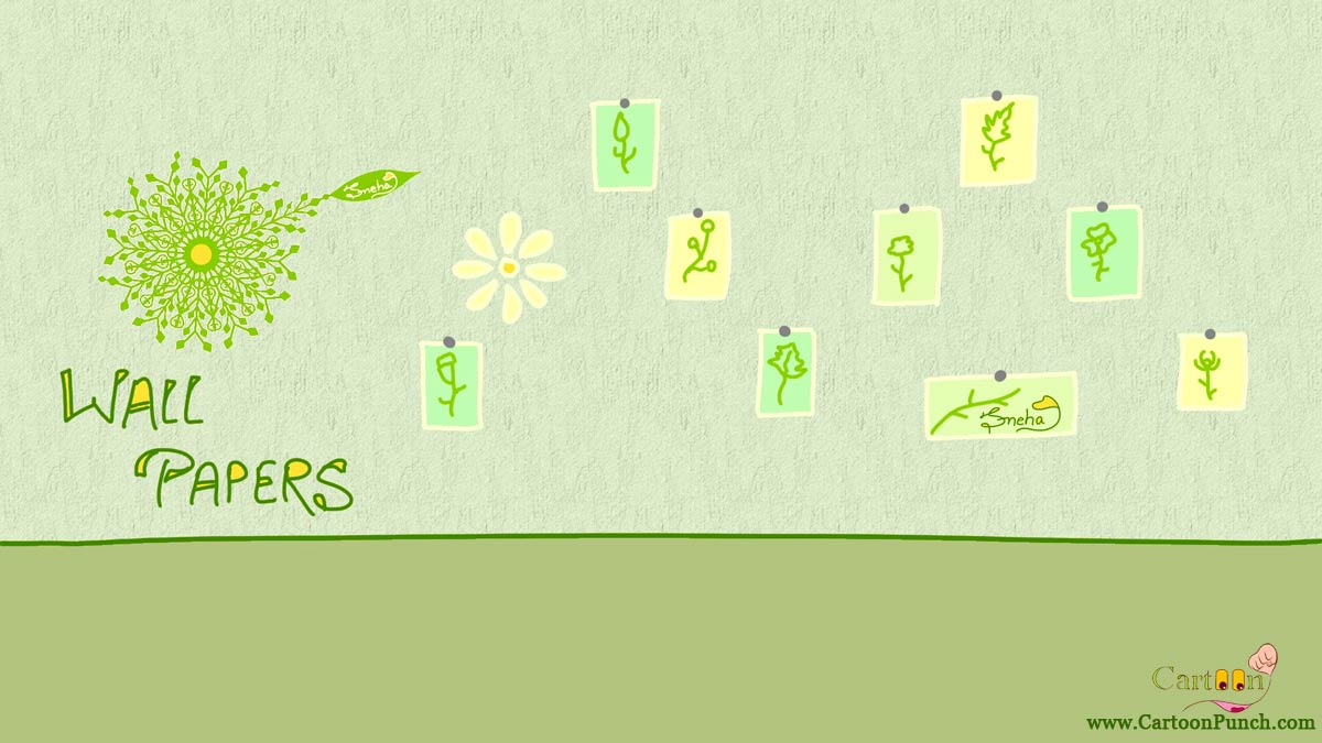 Go green wallpaper cartoon by Sneha: Pinned wall papers on green wall