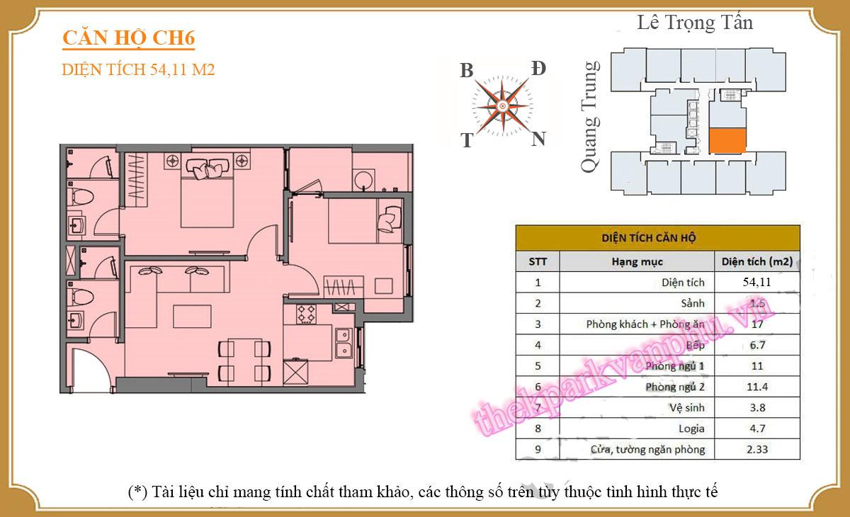 Thiết kế mặt bằng căn hộ số 6 - The K-Park