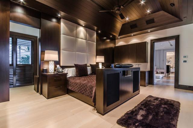 Celine Dion's Florida mansion dark brown bedroom