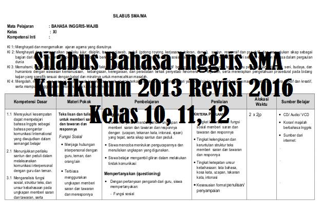 RPP Bahasa Inggris SMA Kurikulum 2013 Revisi 2016 Kelas 10, 11, 12