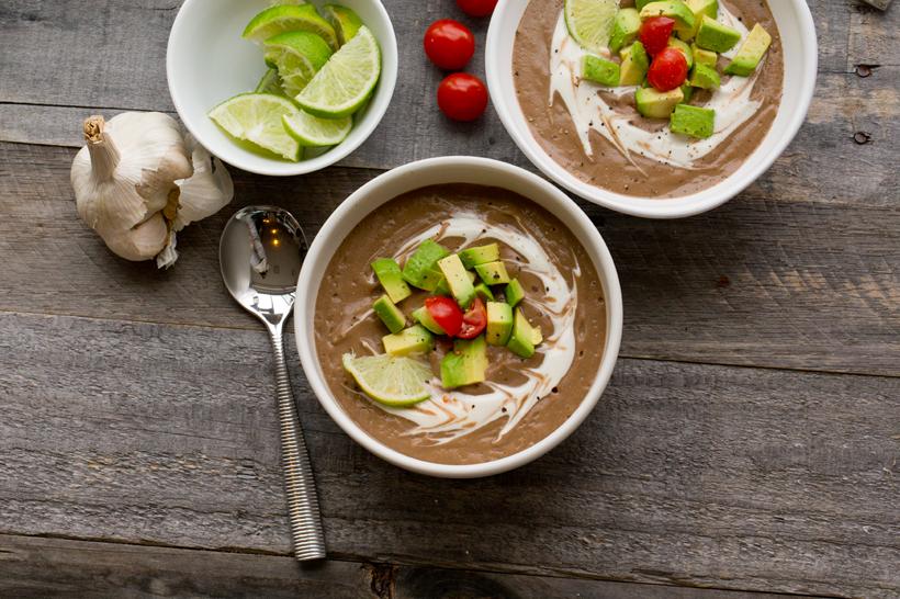Black Bean Mushroom Soup with Avocado