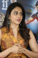 Rakul Preet Singh smiling Beautyin Brown Deep neck Sleeveless Gown at her interview 2.8.17 ~  Exclusive Celebrities Galleries 067.JPG