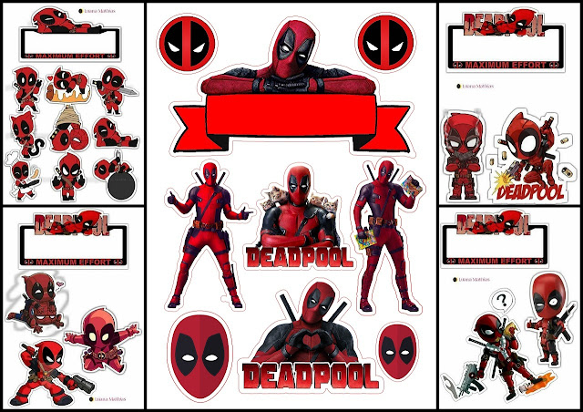 Deadpool Party Free Printable Cake Toppers.