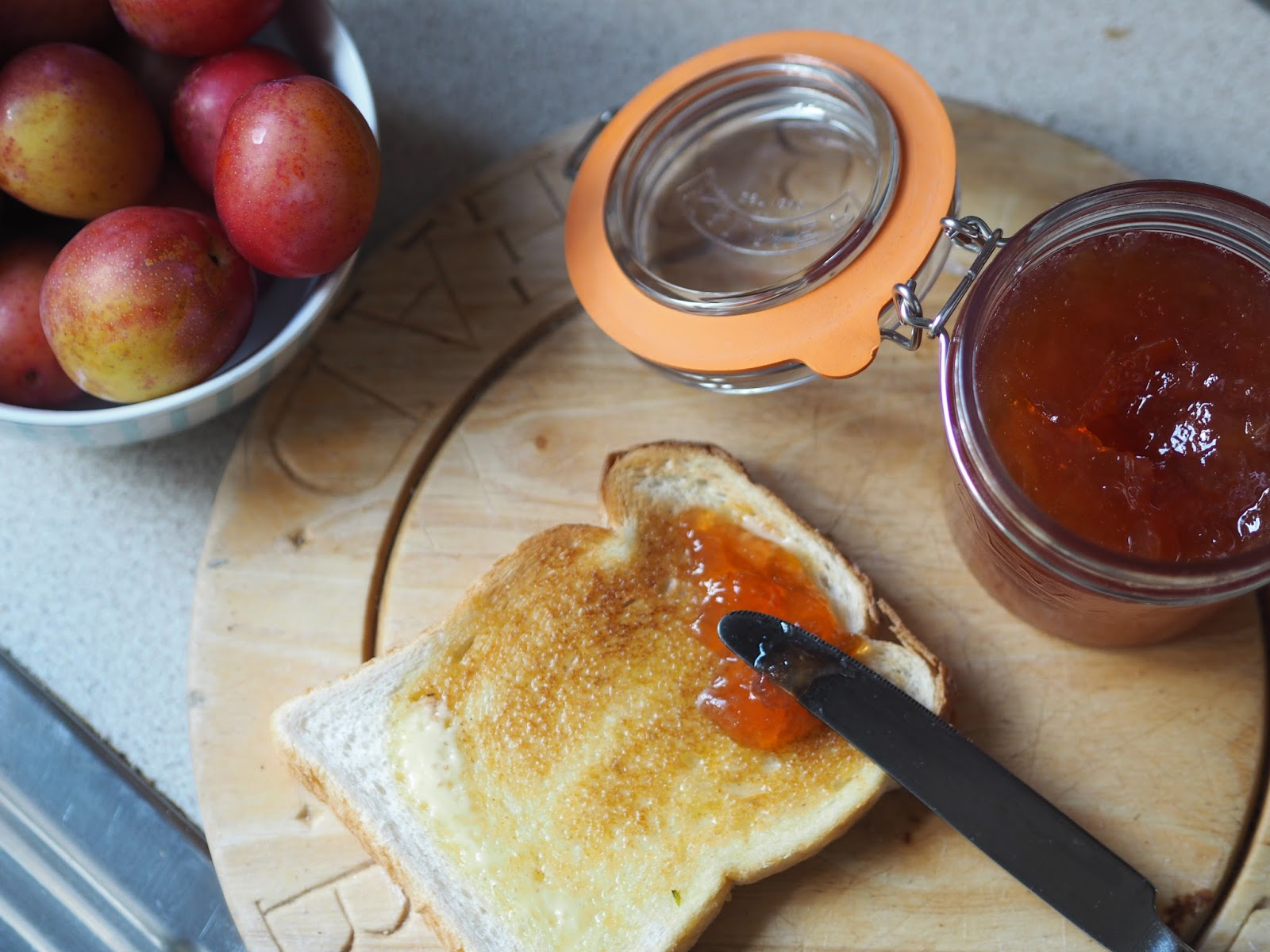 Toast with plum jam