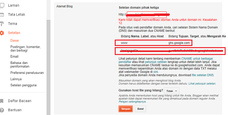 setting atau manage domain blogspot ke freenom 2