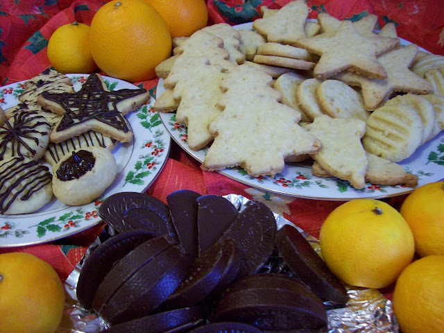 Orange Ambrosia Shortbread Cookies, plain and decorated with chocolate.