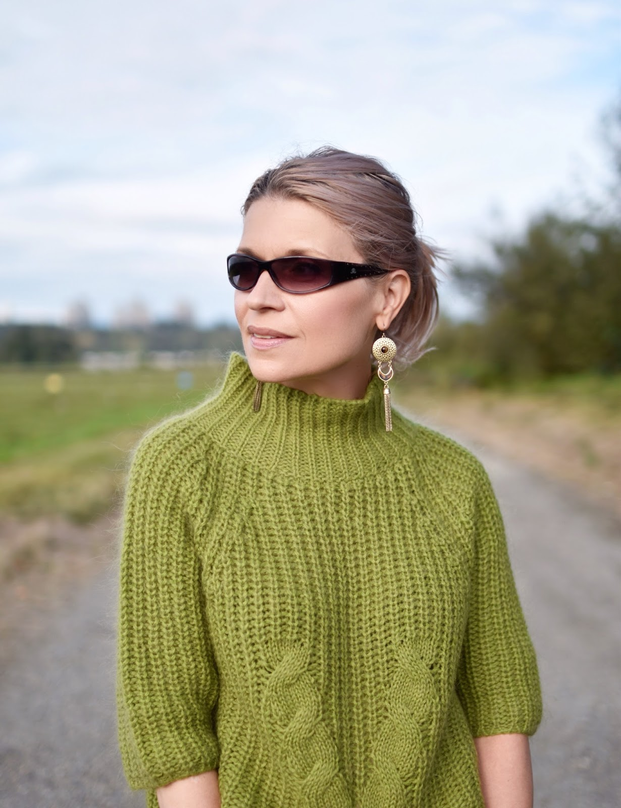 Monika Faulkner outfit inspiration - green mohair sweater, JLo sunglasses