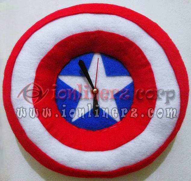 Jam Dinding Flanel Karakter Kartun Logo Kapten Amerika