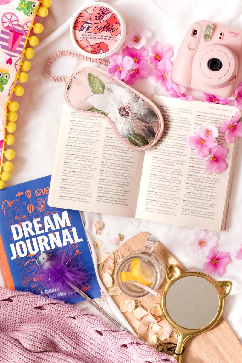 dream journal monring bed flatlay