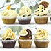 1 batter 6 flavour combinations cupcakes , carrot cake salted caramel smores chocolate chip cookie mocha irish cinnamon roll
