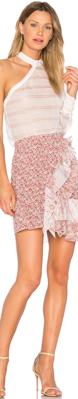 NO. 21 RUFFLE FLORAL SKIRT