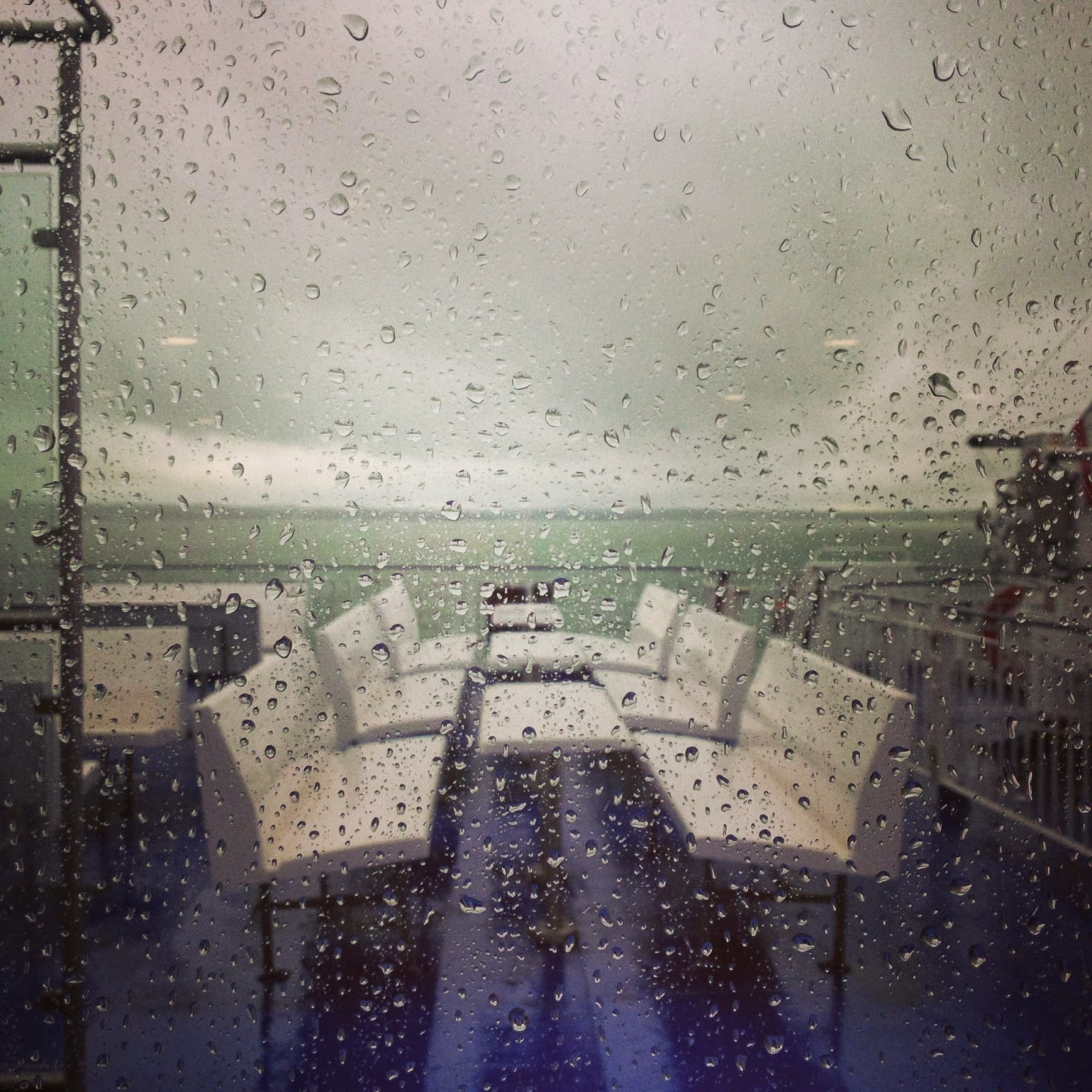 A rainy view from the ferry to the Isle of Wight