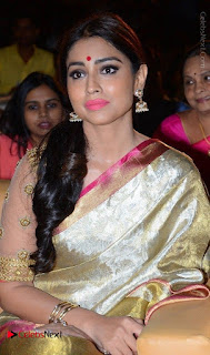 Shriya Saran New Images in Silk Saree at Gautamiputra Satakarni Audio Launch