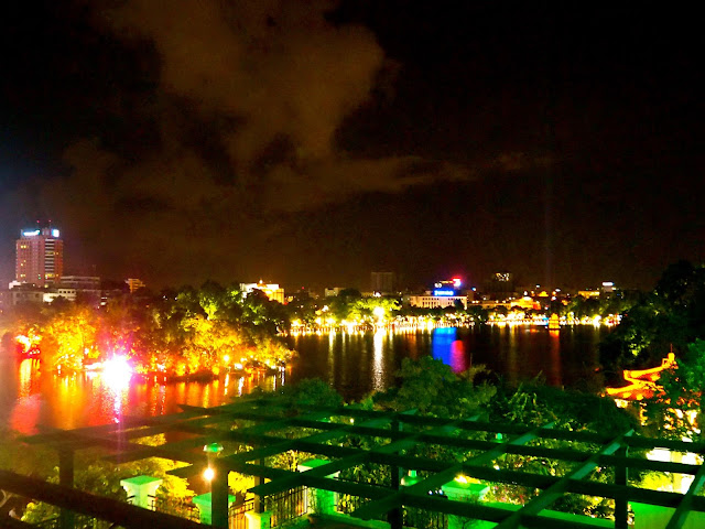 Hoan Kiem Lake from a rooftop at night, Hanoi, Vietnam