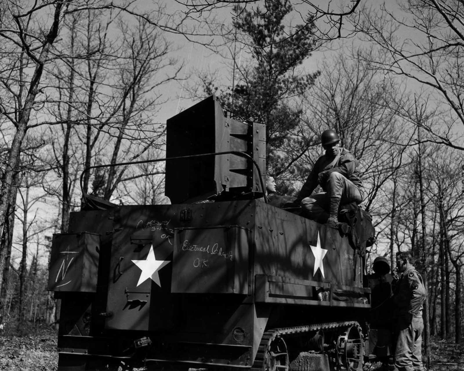 To complete the experience, the Ghost Army also used sonic deception, helped by engineers from Bell Labs. The team recorded sounds of various units onto a series of sound-effects records, each up to 30 minutes long. The sounds were recorded on state-of-the-art equipment, and then played back with powerful amplifiers and speakers that could be heard 15 miles (24 km) away.