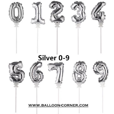 Mini Number Silver Foil Balloon Cake Topper