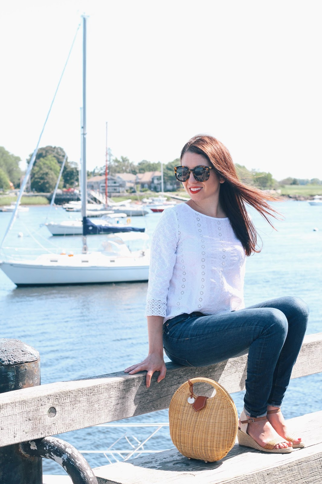 A day in Newburyport, MA in a crisp white top with pretty eyelet detail.