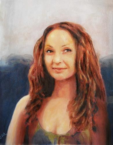 Jen, Mona Lisa 2012 - an original acrylic/oil on paper, after (obviously) a motif of da Vinci.