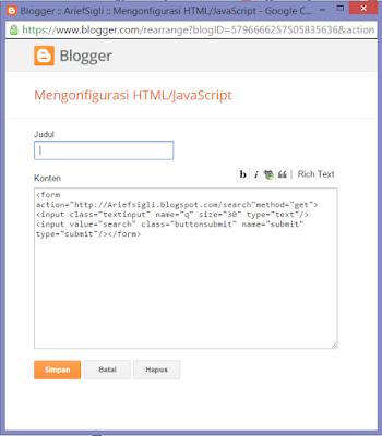 Cara membuat kotak pencarian di dalam Blog