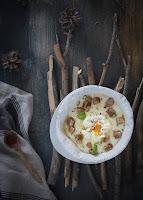 Cremoso de patata con panceta y huevo poché