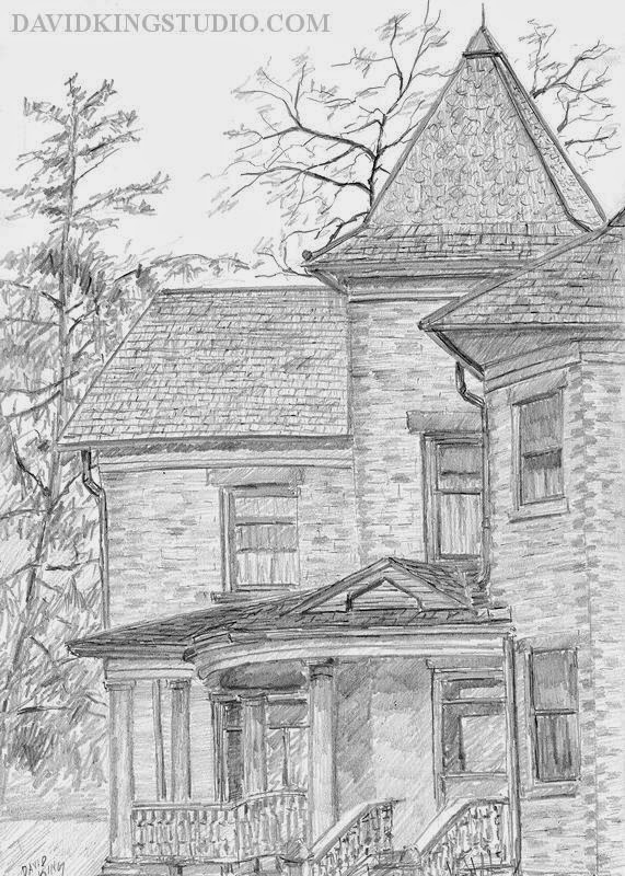 art sketch pencil graphite Wheeler Farm house rural